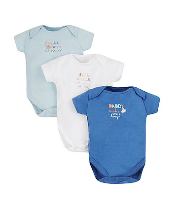 animal mummy and daddy bodysuits - 3 pack