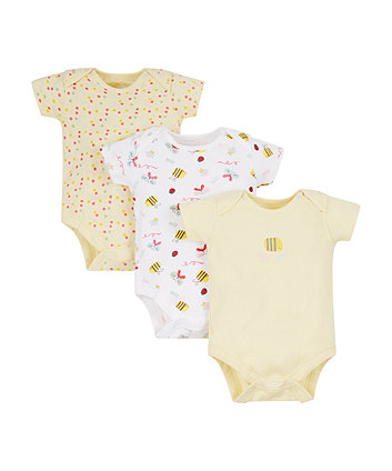 Mothercare Spotty Bee Bodysuits - 3 Pack