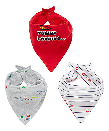 Mothercare Tummy Loading Bandana Bibs - 3 Pack