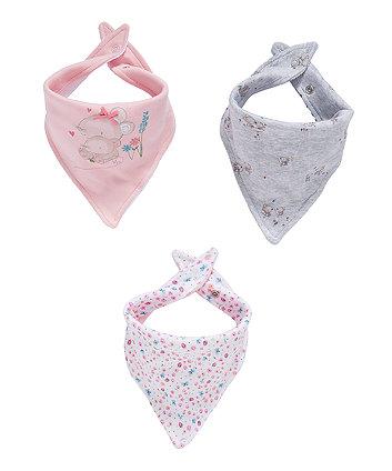 Mothercare Little Mouse Bandana Bibs - 3 Pack