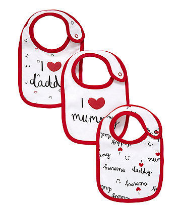 Love Mummy And Daddy Bibs - 3 Pack