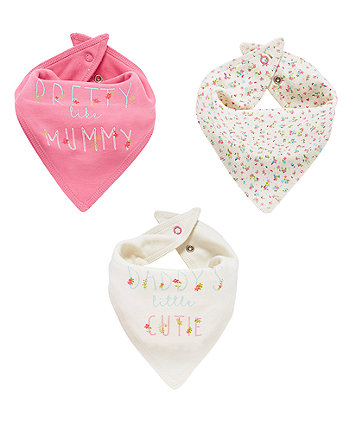 Mothercare Pink Mummy And Daddy Bandana Bibs - 3 Pack
