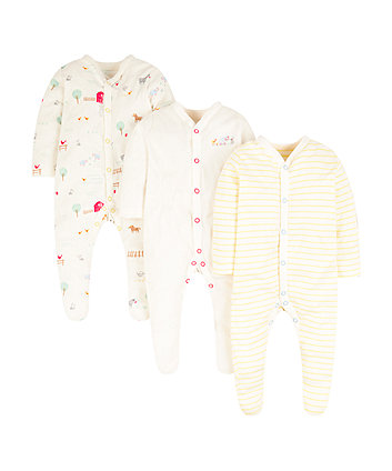 Mothercare Animal Farm Sleepsuits - 3 Pack
