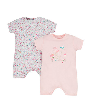sunny days mouse rompers - 2 pack