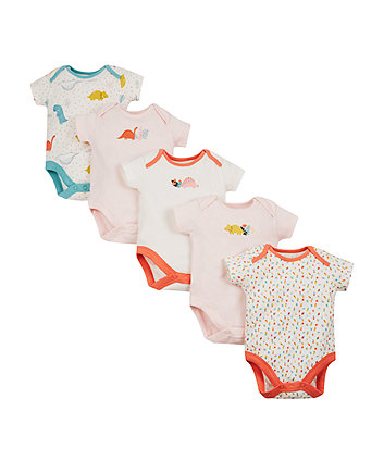Mothercare Pink And Cream Dino Bodysuits - 5 Pack