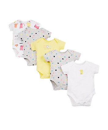 Spotty Cat Bodysuits - 5 Pack