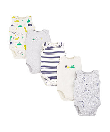 Stripe Dino Bodysuits - 5 Pack