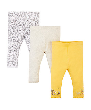Mothercare Yellow And Grey Leggings - 3 Pack
