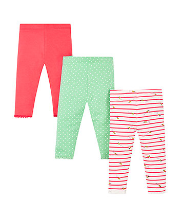 Mothercare Colourful Patterned Leggings - 3 Pack