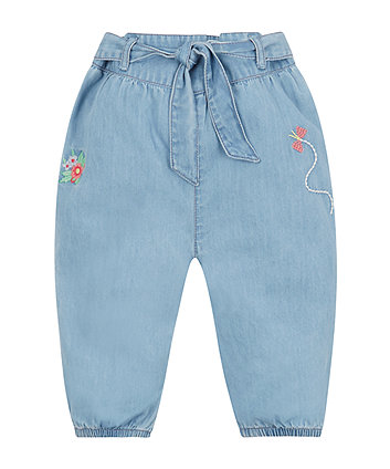 Mothercare Embroidered Tie Waist Jeans