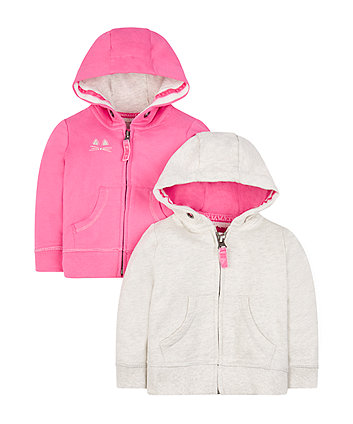 Mothercare Grey And Pink Hoodies - 2 Pack