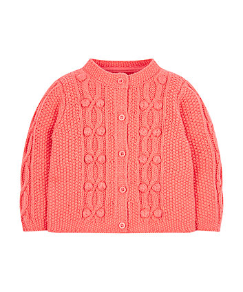Coral Bobble Knitted Cardigan