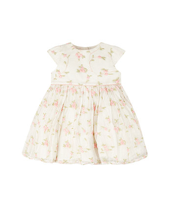 Mothercare Cream Mesh Embroidered Prom Dress
