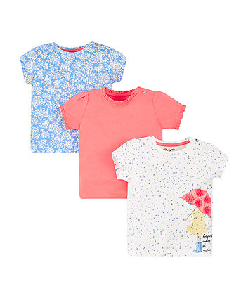 Mothercare Happy Raindrop T-Shirts - 3 Pack