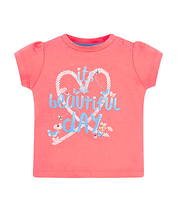 Mothercare Coral Beautiful Day T-Shirt