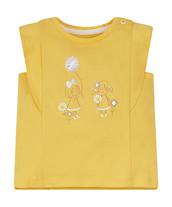 Mothercare Yellow Girl Frill-Sleeve T-Shirt