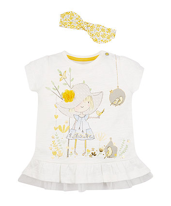 Mothercare White Frill Hem T-Shirt And Headband Set