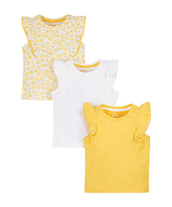 Mothercare Yellow And White Frilly Vests - 3 Pack
