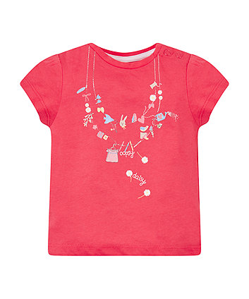 Mothercare Red Necklace Print T-Shirt