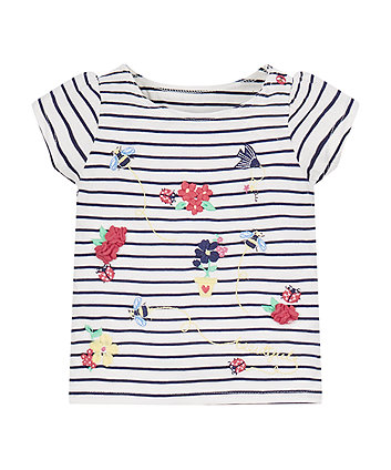 Mothercare Striped Flower T-Shirt