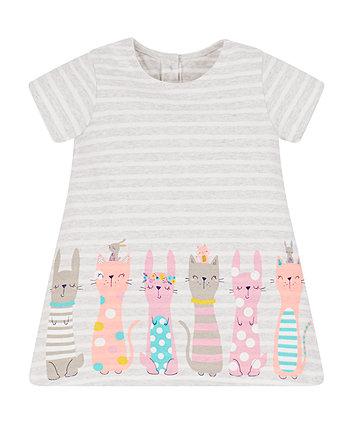 Grey Stripe Border Print Dress
