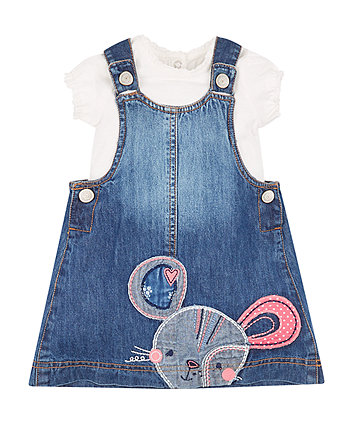 Mothercare Mousey Pinny Dress And T-Shirt Set