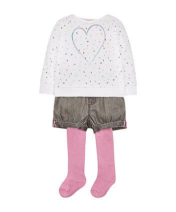Sweatshirt, Shorts And Tights Set