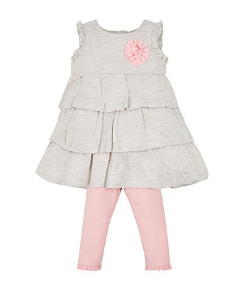 Grey Tiered Dress And Leggings Set