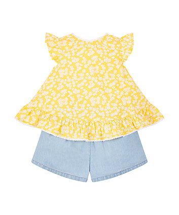 Yellow Blouse And Shorts Set