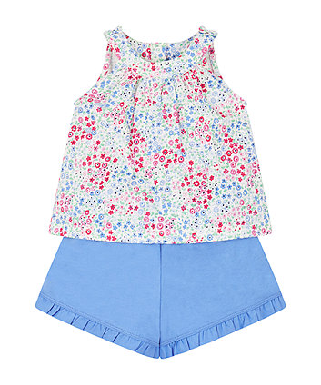 floral vest and shorts set
