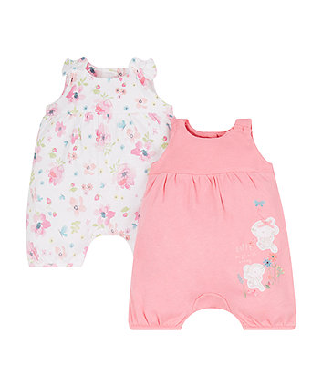 Mothercare Floral Mouse Rompers - 2 Pack