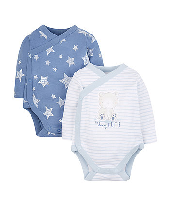 My First Beary Cute Wrap Opening Bodysuits - 2 Pack