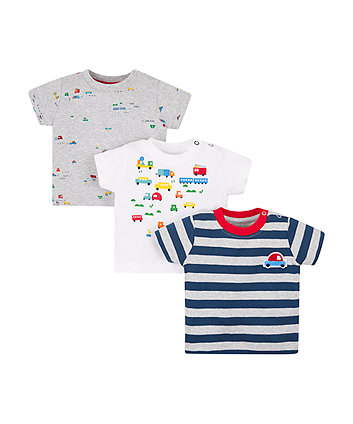 Mothercare Striped Bus T-Shirts - 3 Pack