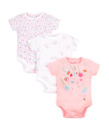 Mothercare Floral Bodysuits - 3 Pack