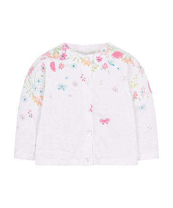 Mothercare White Floral Knitted Cardigan
