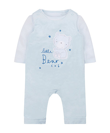 Mothercare My First Little Bear Cub Cord Dungaree And Bodysuit Set