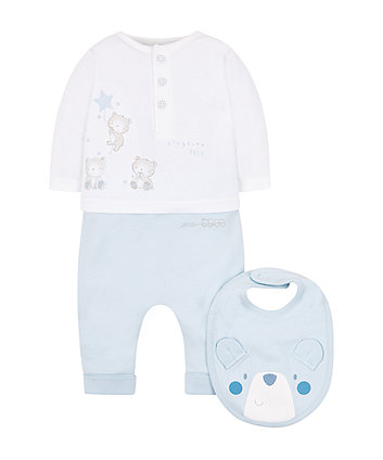 My First Blue Leggings, Top And Bib Set