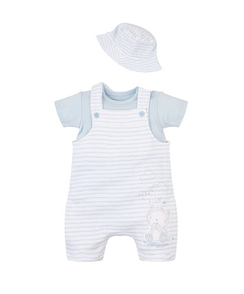 Mothercare My First Bibshorts, Bodysuit And Hat Set