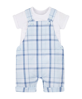 Mothercare My First Check Bibshorts And Bodysuit Set