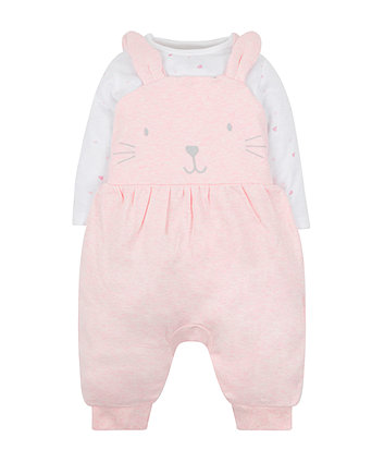Mothercare My First Bunny Dungarees And Bodysuit Set