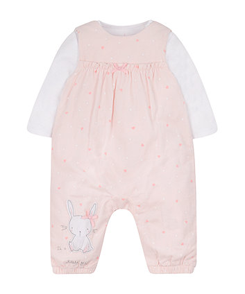 Mothercare My First Pink Cord Dungarees And Bodysuit