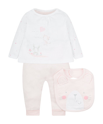My First Pink Leggings Top And Bib Set