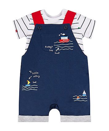 Sailing Boats Bibshorts And Bodysuit Set