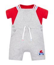 Mothercare Grey Bibshorts And T-Shirt Set
