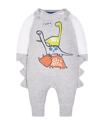 grey novelty dinosaur dungaree set