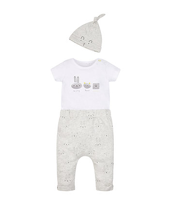 Grey Bunny And Bear Bodysuit, Jogger And Hat Set