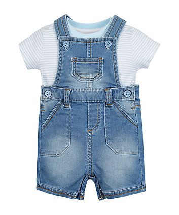 Denim Bibshorts And Bodysuit Set