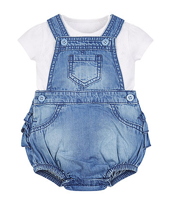 Mothercare Chambray Bloomer Bibshorts And Bodysuit Set