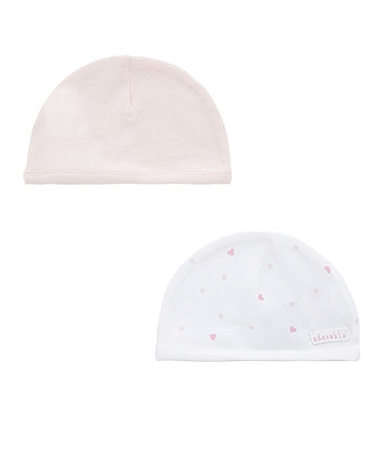 Mothercare My First Pink Heart Hats - 2 Pack