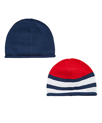 Mothercare Navy And Striped Knitted Hats - 2 Pack